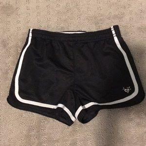 Justice,black and white workout shorts